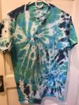 Blues and Greens Spirals Tie-dye