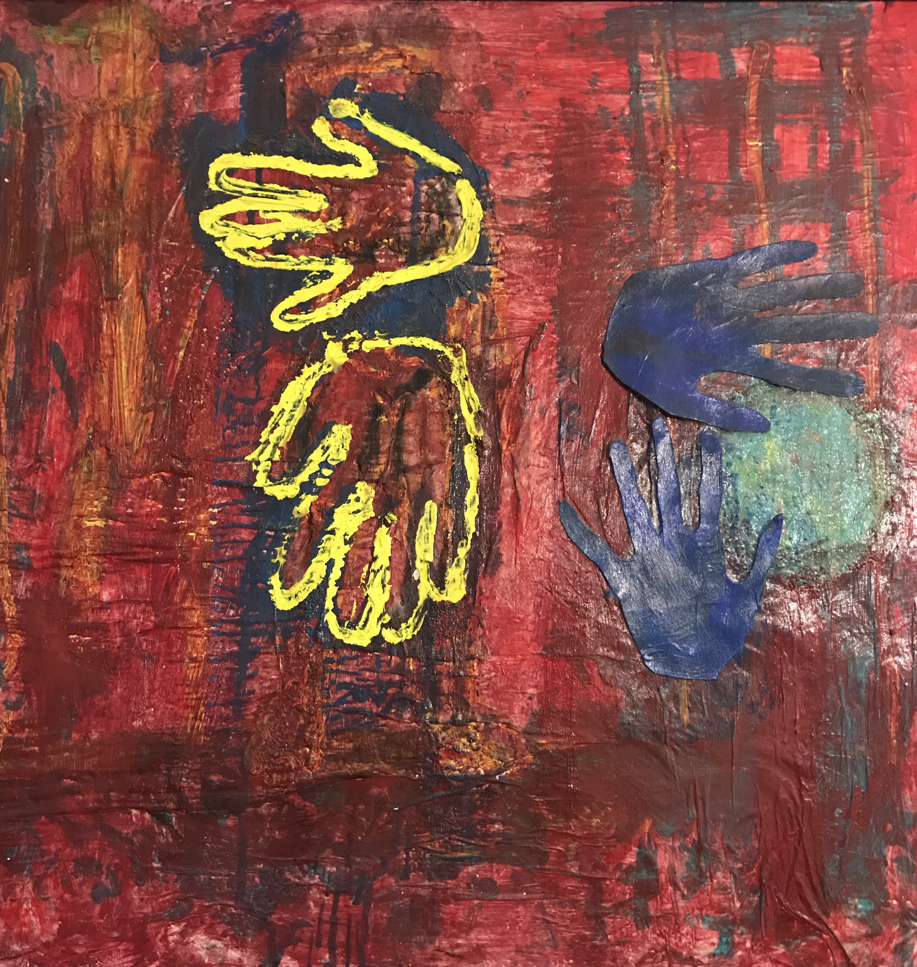 painting with red background, yellow and blue hands