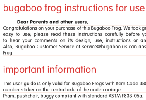Bugaboo Frog Instruction thumbnail